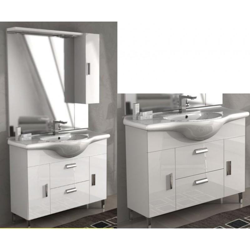 Bade Haus - Mobile da Bagno 105 cm Rovereto Bianco Lucido