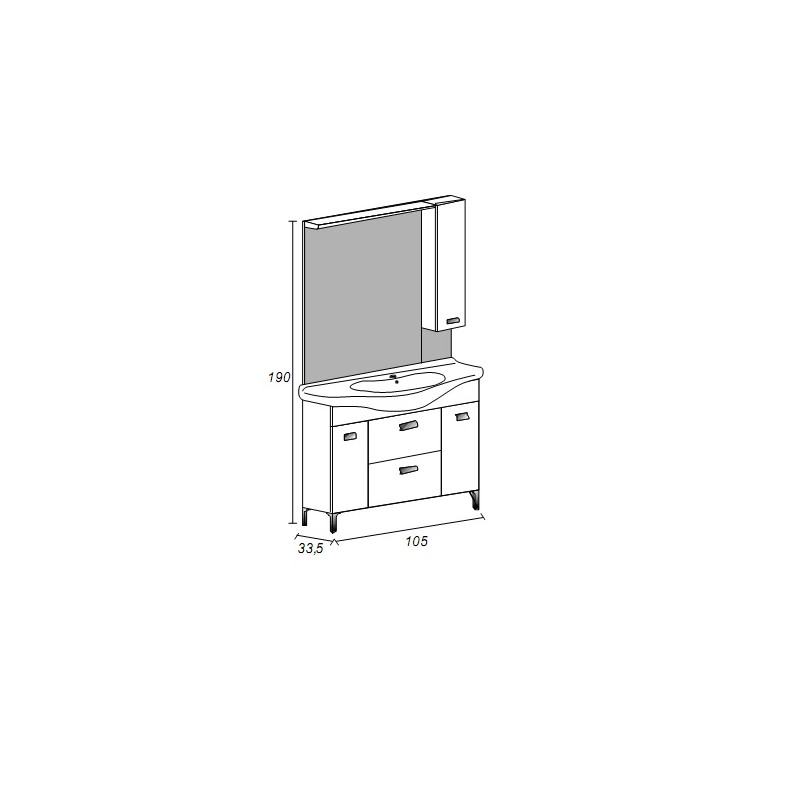Baden Haus - Mobile da Bagno 105 cm Rovereto Grigio Scuro