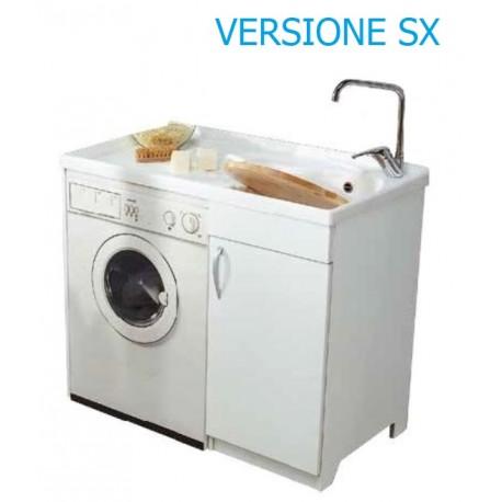 Lavatoio in nobilitato coprilavatrice con vasca in resina - SX - ed asse in plastica L. 107 x P. 60 x H. 91