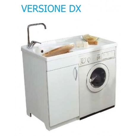 Lavatoio in nobilitato coprilavatrice con vasca in resina - DX - ed asse in plastica L. 107 x P. 60 x H. 91