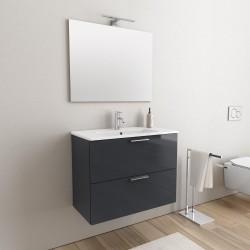 Mobile da bagno Ruby sospeso da 80 cm antracite con specchio lampada led