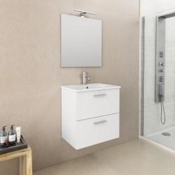 Mobile da bagno Ruby sospeso da 60 cm bianco con specchio lampada led