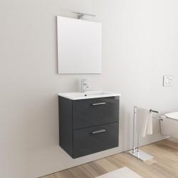 Mobile da bagno Ruby sospeso da 60 cm antracite con specchio lampada led