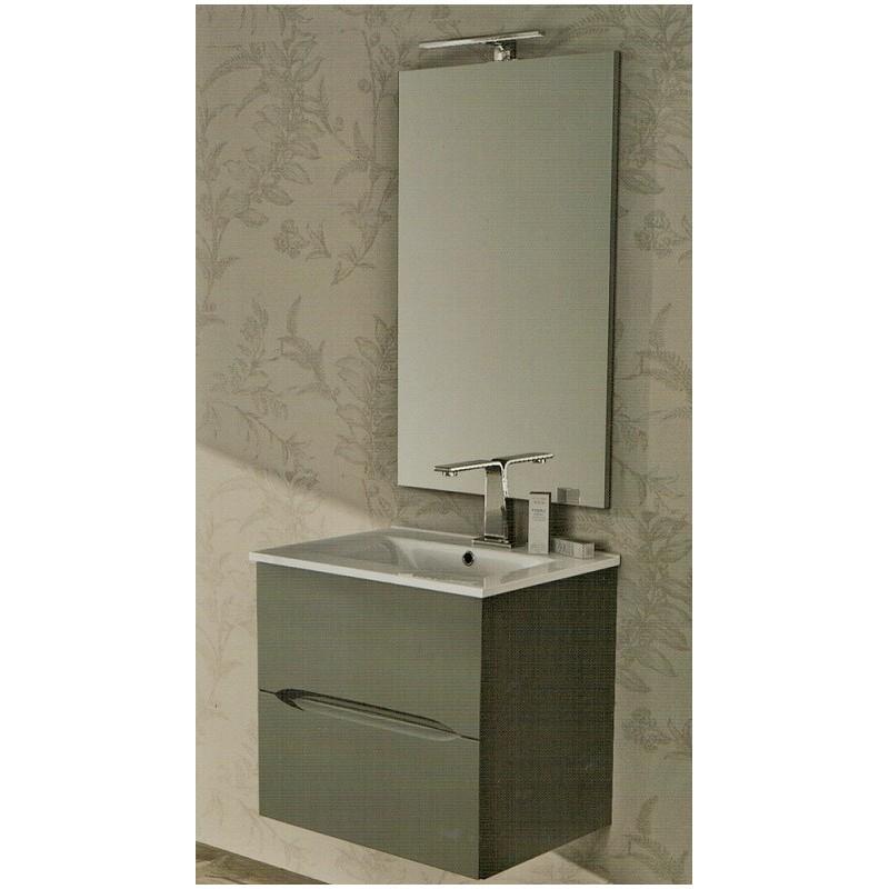 mobile da bagno 60 cm grigio talpa sospeso con lavabo e specchiera