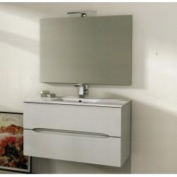 Mobile da Bagno 100 cm Frassino Bianco Sospeso con Lavabo e Specchiera