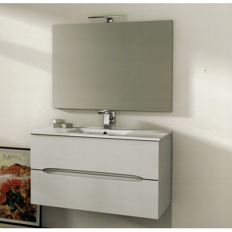 Baden haus mobile da bagno 100 cm frassino bianco sospeso - Mobile sospeso bagno ...