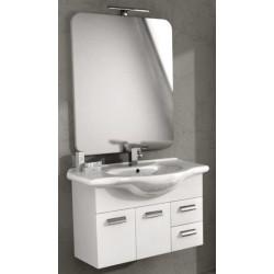 Mobile da Bagno 85 cm Bianco Lucido con Lavabo e Specchiera