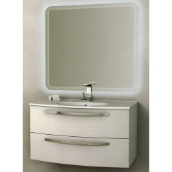 Mobile da Bagno Sospeso 100 cm Frassino Bianco con Lavabo e Specchiera con Accensione Luce Touch