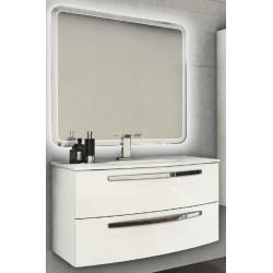 Mobile da Bagno Sospeso 100 cm Bianco Lucido con Lavabo e Specchiera con Accensione Luce Touch
