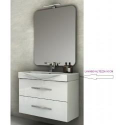 Mobile da Bagno Sospeso 85 cm Bianco Lucido con Lavabo e Specchiera