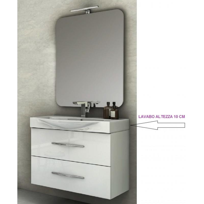 mobile da bagno sospeso 85 cm new york bianco lucido con lavabo e specchiera