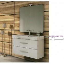 Mobile da Bagno Sospeso 105 cm Frassino Bianco con Lavabo e Specchiera