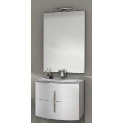 Mobile da Bagno Sospeso 70 cm Bianco Lucido con Lavabo e Specchiera