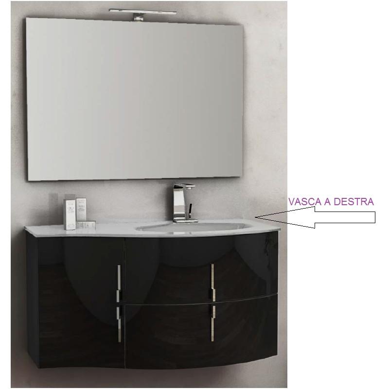 Baden haus mobile da bagno sospeso 104 cm sting nero lucido for Lavabo con mobiletto per bagno