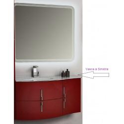 Mobile da Bagno Sospeso 104 cm Sting Rosso Lucido con Lavabo e Specchiera