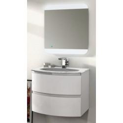 Mobile da Bagno Sospeso 70 cm Bianco Lucido con Lavabo in Vetro e Specchiera ad Accensione Touch
