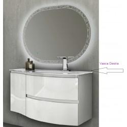 Mobile da Bagno Sospeso 104 cm Bianco Lucido con Lavabo in Vetro e Specchio Retroilluminato