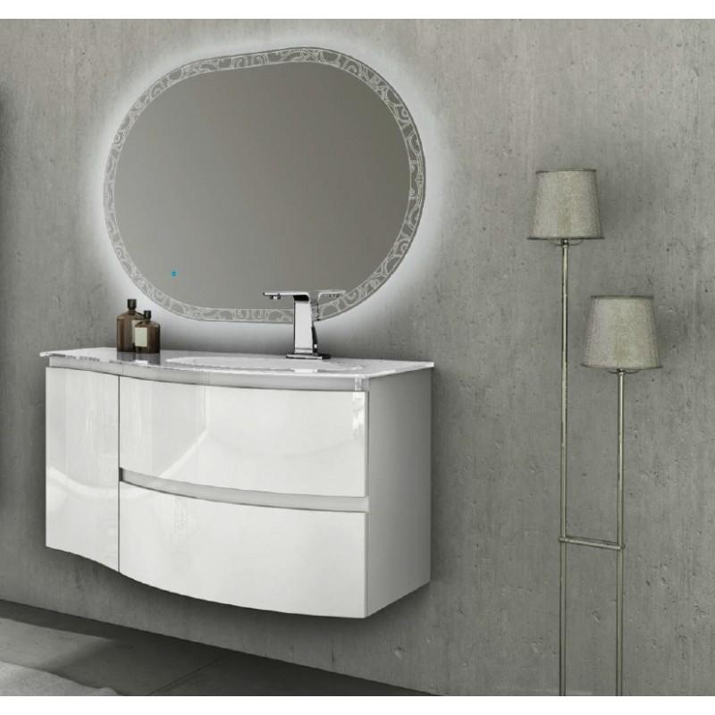 Baden haus mobile da bagno sospeso 104 cm vague bianco lucido - Mobile bagno bianco lucido ...