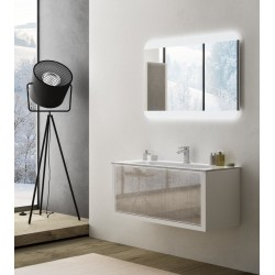 Mobile da Bagno Sospeso 100 cm Roxanne Bianco in Vetro Effetto Tessuto