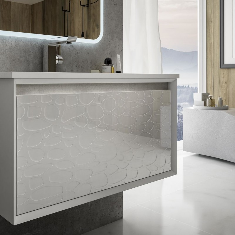 Baden Haus - Mobile da Bagno Sospeso 100 cm Venus Bianco a Rilievo