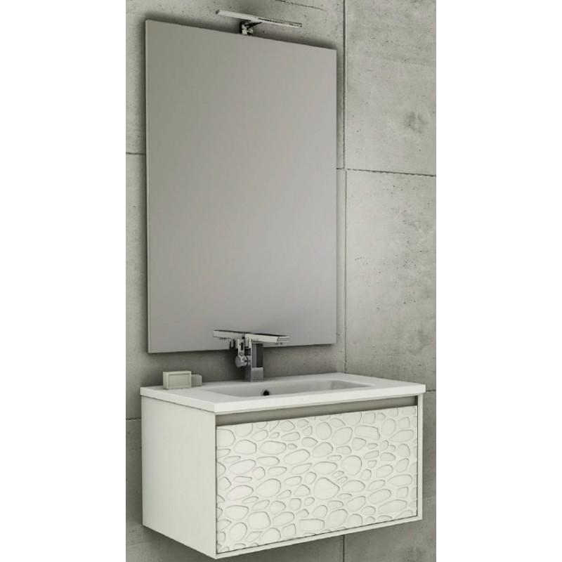 Baden Haus - Mobile da Bagno Sospeso 75 cm Venus Bianco Rilievo