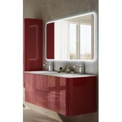 Mobile da Bagno Sospeso 140 cm Rosso con Lavabo e Specchiera