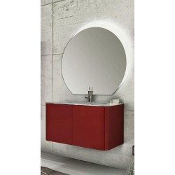 Mobile da Bagno Sospeso 95 cm Rosso con Lavabo e Specchiera