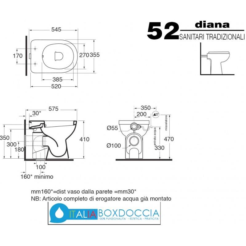Ceramica Azzurra Serie Diana.Vaso Bidet Completo Di Sedile Diana Azzurra Vendita Online Italiaboxdoccia