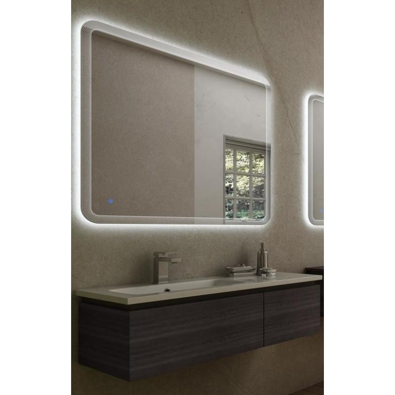 mobile da bagno sospeso 100 cm rovere scuro con lavabo in resina