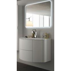 Mobile da Bagno Sospeso 90 cm Frassino Bianco con Lavabo e Specchiera