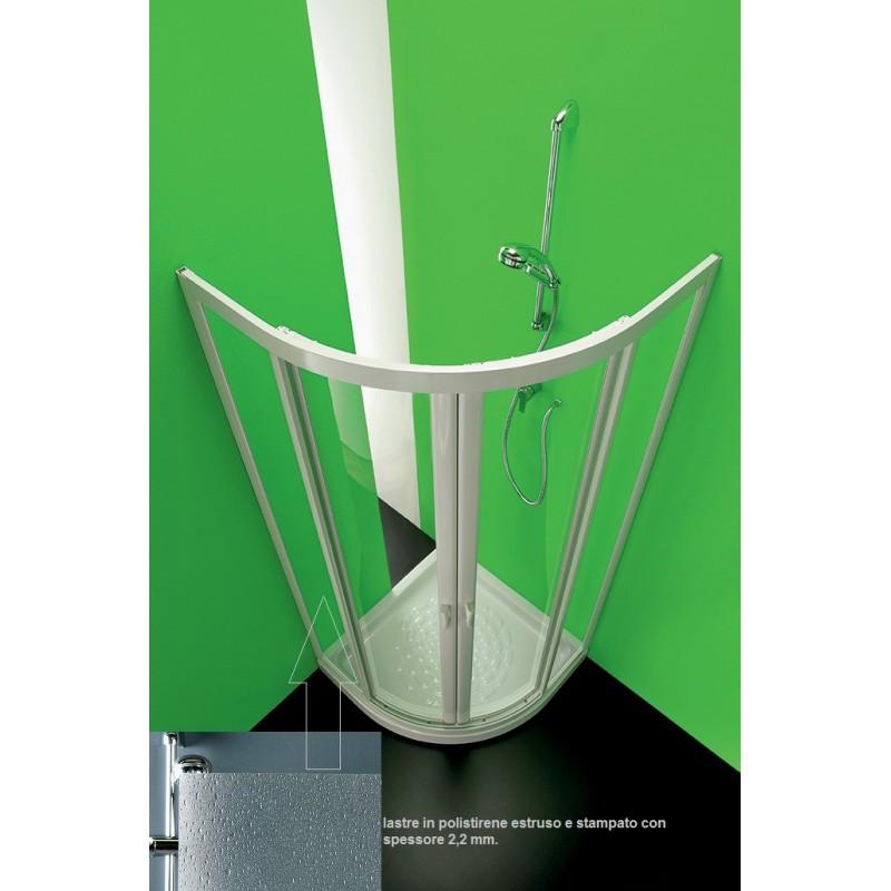 Forte - Box Doccia Semicircolare Acrilico 2,2 mm Mod. Ponte 80x80 cm