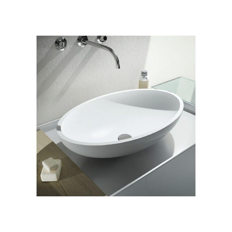 Relax design lavabo da appoggio in solid surface modello ovo for Lavabo da appoggio