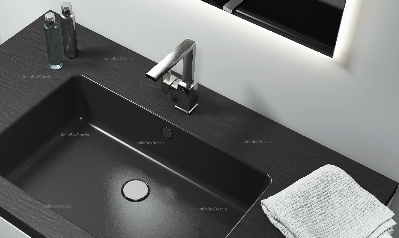 Relax design top con lavabo integrato da 50 cm in marmo resina