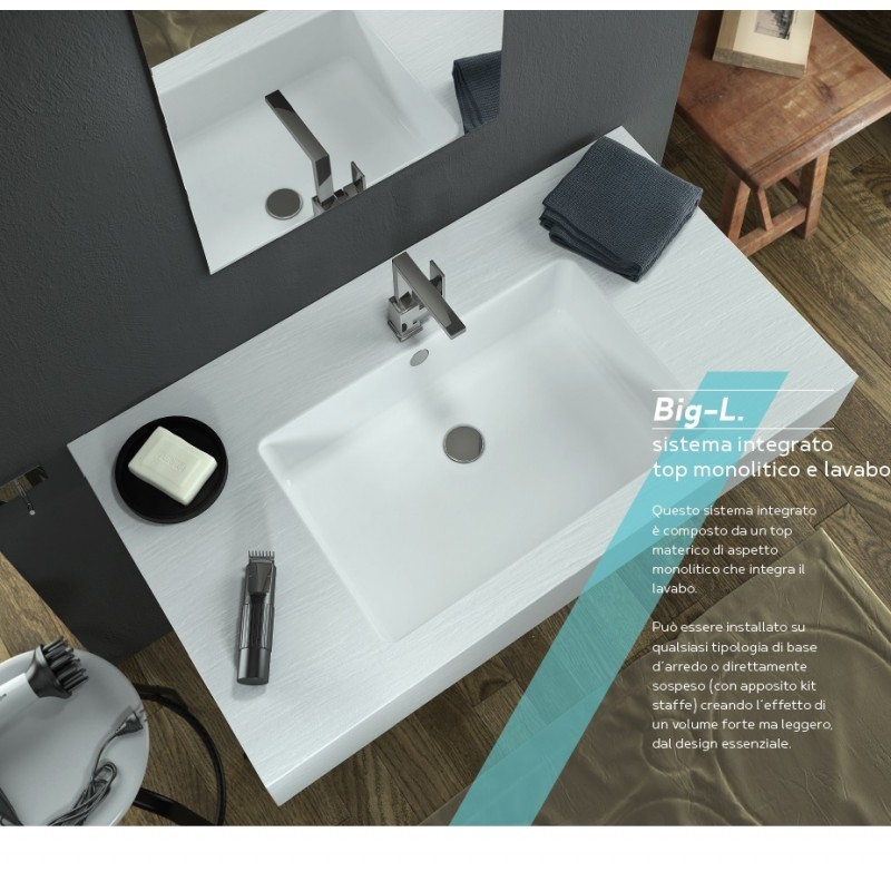Relax Design - Top con Lavabo Integrato da 50 cm in Marmo Resina