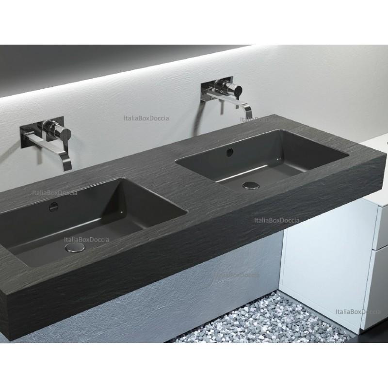 Relax Design - Top con Doppio Lavabo Integrato in Marmo Resina