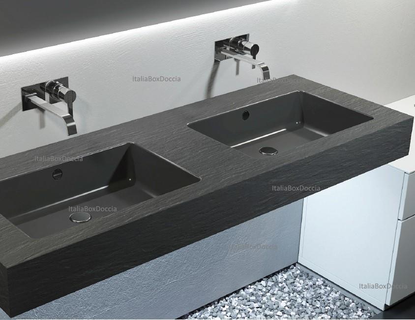 Piano Bagno In Ardesia : Relax design top con doppio lavabo integrato in marmo resina