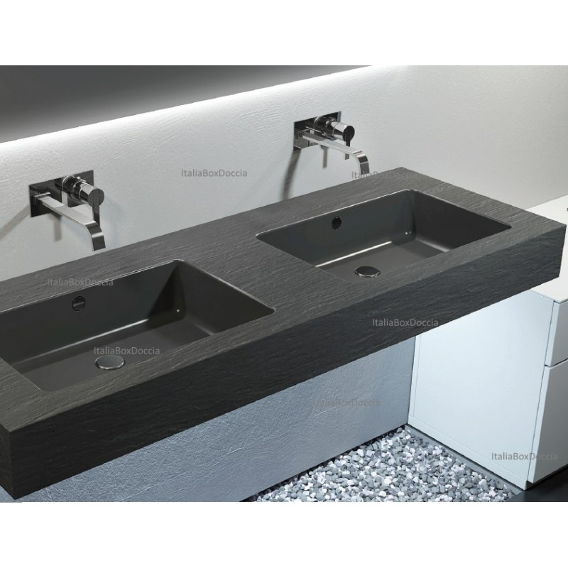 Relax design top con doppio lavabo integrato in mineral for Lavandino design