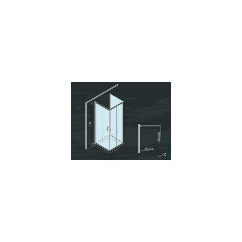 ... Doccia da Centro Stanza ad U Cristallo Serigrafato 6 mm Altezza 190 cm