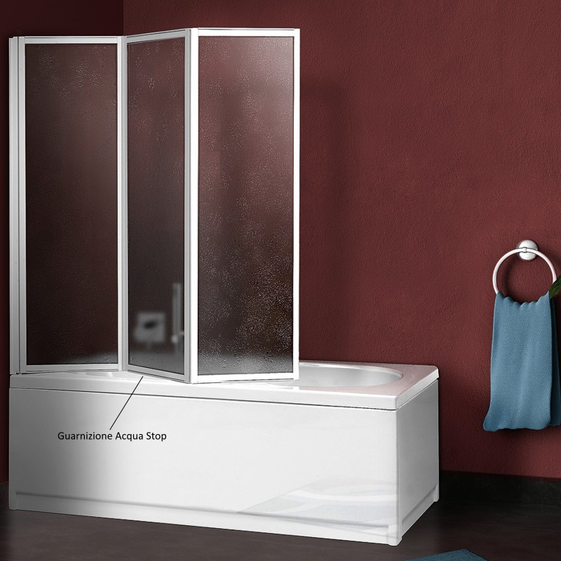 Parete sopravasca 140 cm acrilico spessore 2 2 mm profili bianchi - Box per vasca da bagno ...