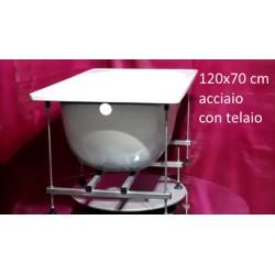 Vasca con Telaio 120x70 cm in Acciaio  Smaltato Colore Bianco