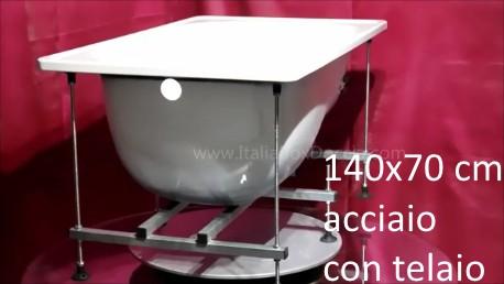 Vasca Da Bagno Incasso 150x70 : Smavit vasca con tealio 140x70 cm in acciaio