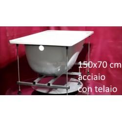 Vasca con Telaio 150x70 cm in Acciaio