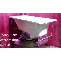 Vasca con telaio 150x70 cm in Vetroresina