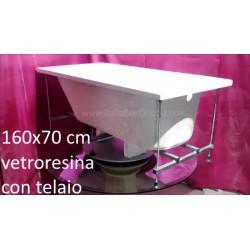 Vasca con Telaio 160X70 cm in Vetroresina