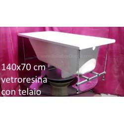 Vasca con Telaio 140x70 cm in Vetroresina