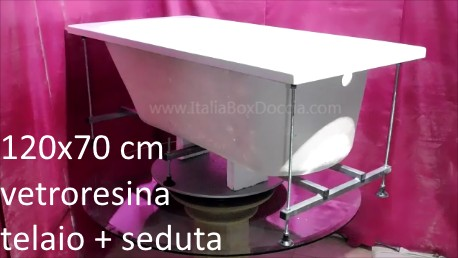Vasca Da Bagno Pannellata 120x70 : Vasca da bagno con telaio rinforzato e seduta cm in vetroresina