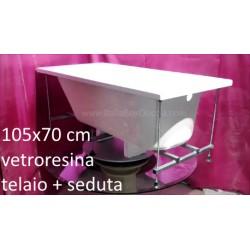 Vasca con Telaio + Seduta 105X70 cm in Vetroresina
