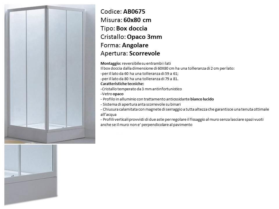 Misure Per Box Doccia.Piatto Doccia In Ceramica Misura 60x80 Cm