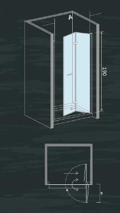 Box doccia con porta girevole cristallo 6 mm - Porta doccia pieghevole ...