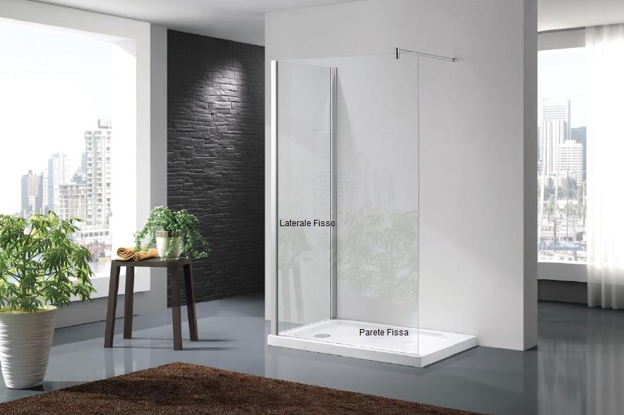 Pareti Per Doccia In Vetro : Box doccia walk in due lati cristallo 6 mm con trattamento